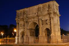 Night shot of the Arch of Triumph in Rome, Italy - stock photo