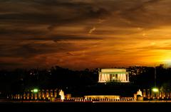 Stock Photo of Lincoln memorial at sunset