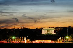 Lincoln Memorial at sunset - stock photo