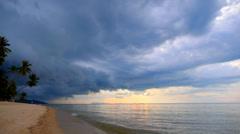 Dusky Beach with Palms and Impressive Sky. Stock Footage