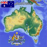 Australia flag coat map Stock Illustration