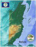 Belize map flag coat Stock Illustration