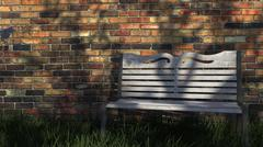 Object Staging Scene 05 - Brick Wall Grass And Park Bench 3D Model