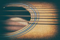 Acoustic Bass Strings and Sound Hole - stock photo