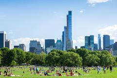 People resting in central park - new york - usa Stock Photos