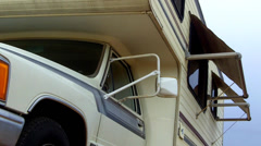 Side Of Recreational Vehicle Close Up Low Angle 1 Stock Footage