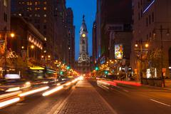 Philadelphia streets by night - pennsylvania - usa Kuvituskuvat