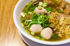 Thai food pork noodle soup Stock Photos