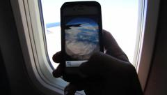 Plane window view picture Stock Footage
