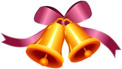 Decorative bow with two golden bells Stock Illustration
