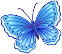 Blue butterfly illustration - stock illustration