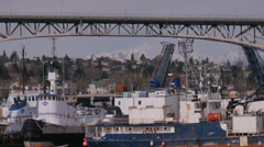 Fremont Bridge Mt Rainier Boats Stock Footage