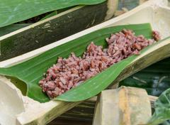 Rice in bamboo stalk Stock Photos