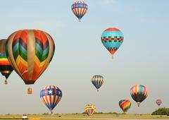 Many Colorful Hot Air Balloons - stock photo