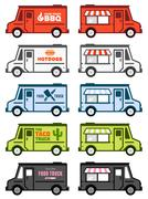 Food truck graphics - stock illustration