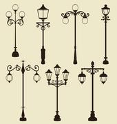 Set of vintage various ornamental streetlamps Stock Illustration