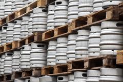 Stock Photo of Many metal kegs of beer