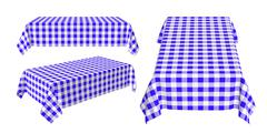 set of rectangular tablecloth with blue checkered pattern - stock illustration