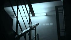 Scary dark staircase, flashes of light at night, horror film - stock footage