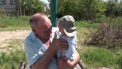 Happy granddad and grandson Stock Footage