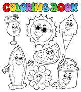 Coloring book with summer pictures - stock illustration