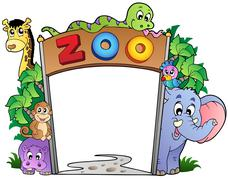 Zoo entrance with various animals Stock Illustration