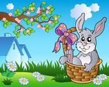 Spring meadow with bunny in basket Stock Illustration