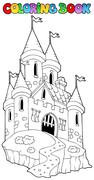 Coloring book with castle  Stock Illustration