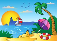 Stock Illustration of Beach with umbrella and sand castle