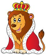 Cartoon lion in king outfit - stock illustration