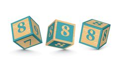 Vector number 8 wooden alphabet blocks Stock Illustration