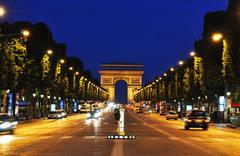 The Champs-Elysees at night, Paris Stock Photos