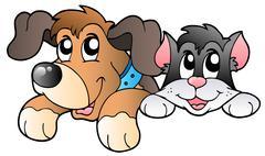 Cute lurking pets Stock Illustration