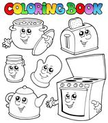 Coloring book with kitchen cartoons - stock illustration