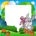 Easter frame with bunny in basket Stock Illustration