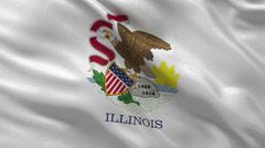 US state flag of Illinois - seamless loop Stock Footage