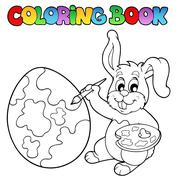 Coloring book with bunny artist - stock illustration