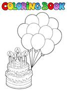 Coloring book with birthday cake  - stock illustration