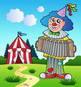 Clown playing accordion near tent - stock illustration
