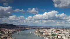 Budapest cityscape timelapse - the Danube river, Chain Bridge Stock Footage
