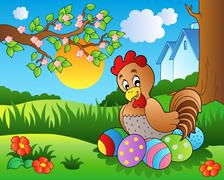 Meadow with hen and Easter eggs Stock Illustration