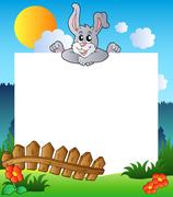 Easter frame with lurking bunny Stock Illustration