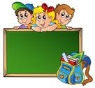 Board with children and school bag Stock Illustration