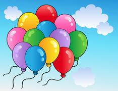 Blue sky with cartoon balloons  Stock Illustration