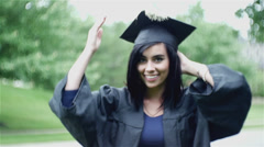 college graduate lady woman getting ready - stock footage