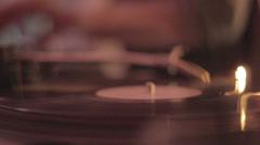 Nightclub, vinyl record spinning, dj's hands playing disco set Stock Footage