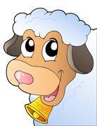 Cartoon lurking sheep Stock Illustration