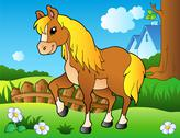 Cartoon horse on spring meadow Stock Illustration