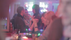 Young people drinking, smoking in bar, nightclub, girls, pick-up Stock Footage