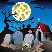 Halloween scenery with cemetery  Stock Illustration